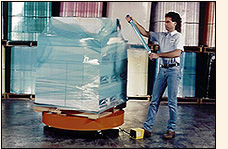 GOODWRAPPERS Satellite Wraping System an affordable, easy way to wrap pallets with GOODWRAPPERS HANDWRAPPERS.