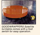 GOODWRAPPERS Satellite turntable comes with a foot switch for easy operation.
