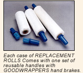 Each case of Replacement rolls comes with one set of reusable handles with Goodwrappers handbrakes.